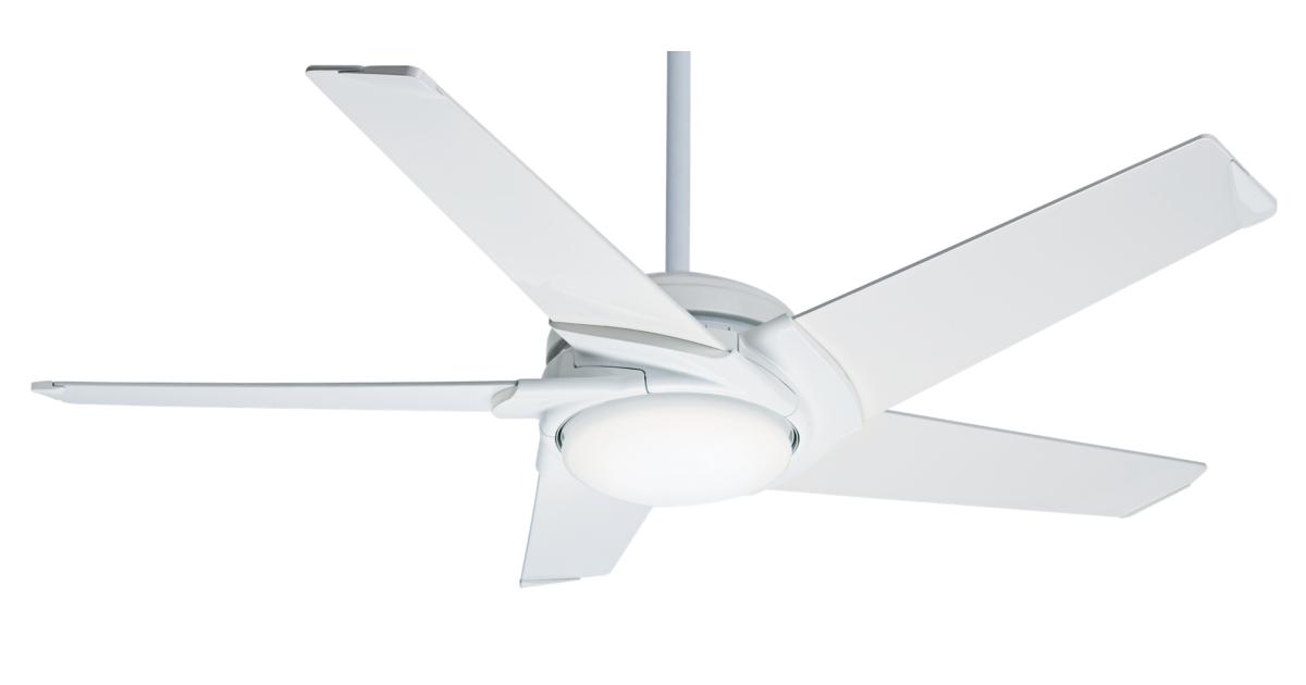 54 white ceiling fan stealth dc led 59165 casablanca for Casablanca dc motor ceiling fans